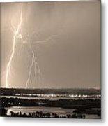 Lightning Strike Boulder Reservoir And Coot Lake Sepia Metal Print by James BO  Insogna