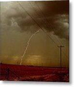 Lightning Strike In Oil Country Metal Print
