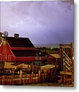 Lightning Strikes Over The Farm Metal Print by James BO  Insogna