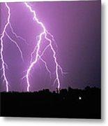 Lightning Striking During A Storm Metal Print