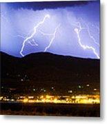 Lightning Striking Over Ibm Boulder Co 3 Metal Print