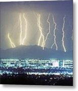 Lightning Striking Over Phoenix Arizona Metal Print