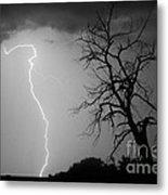 Lightning Tree Silhouette Black And White Metal Print