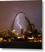 Lightning With The St Louis Arch Metal Print