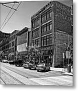 Light Rail Line And Old Downtown Buildings_bwhdr Metal Print