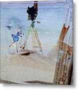 Lights Butterflies Sand And Surf Metal Print