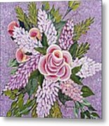 Lilac And Rose Bouquet Metal Print