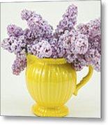 Lilac Boquet - Yellow Vase Metal Print