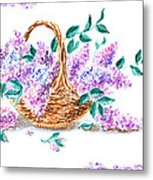 Lilac Vintage Impressionism Painting Metal Print