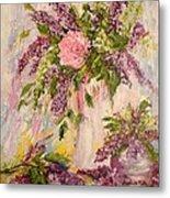 Lilacs And Peony Metal Print