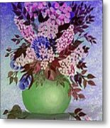 Lilacs And Queen Anne's Lace In Pink And Purple Metal Print