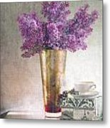 Lilacs In Vase 2 Metal Print by Rebecca Cozart