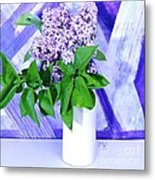 Lilacs With Abstract Metal Print