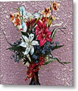 Lilies And Orchids Digitized Purple Metal Print