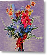 Lilies And Orchids Topaz II Metal Print