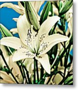 Lilies In White Metal Print