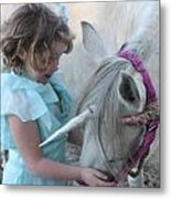 Lilly And Her Unicorn Metal Print