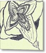 Lilly Artistic Doodling Drawing Metal Print