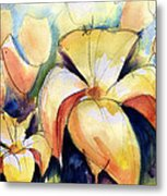 Lillys With Birds Metal Print