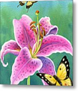 Lily And Butterflies Metal Print