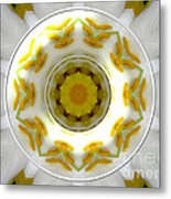 Lily And Daffodil Kaleidoscope Under Glass Metal Print