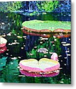 Lily Leaves Painterly  Metal Print