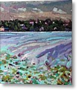 Lily Pads And Lilacs Metal Print
