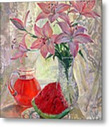 Lily With Watermelon Metal Print
