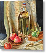 Lime And Apples Still Life Metal Print