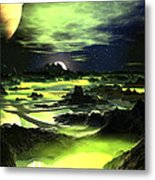 Lime Green Alien Landscape Metal Print