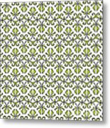 Lime Green And White Vines Metal Print