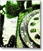 Lime Rotary Phone Metal Print
