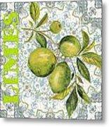 Limes On Damask Metal Print