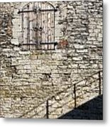 Limestone Wall With Door And Shadow Metal Print