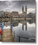 Limmat River Reflections Metal Print