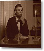 Lincoln At His Desk Metal Print by Ray Downing