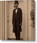 Lincoln Leaving A Building Metal Print