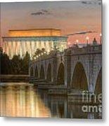 Lincoln Memorial And Arlington Memorial Bridge At Dawn I Metal Print