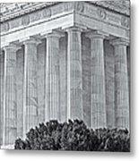 Lincoln Memorial Pillars Bw Metal Print