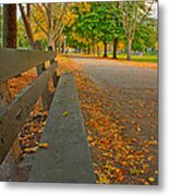 Lincoln Park Bench In Fall Metal Print