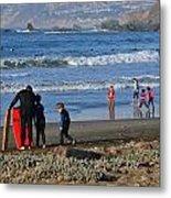 Linda Mar Beach Families Metal Print