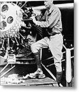 Lindbergh Tunes Up Plane Metal Print