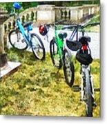 Line Of Bicycles In Park Metal Print