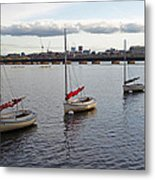 Line Of Boats On The Charles River Metal Print