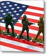 Line Of Toy Soldiers On American Flag Crisp Depth Of Field Metal Print