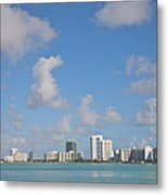 Line Of White Residential Towers Above Metal Print