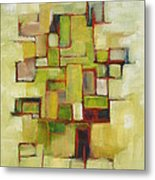 Line Series Yellow Green Red Metal Print
