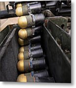 Linked 40mm Rounds Feed Into A Mark 19 Metal Print