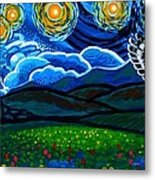 Lion And Owl On A Starry Night Metal Print