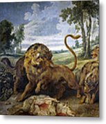 Lion And Three Wolves Metal Print